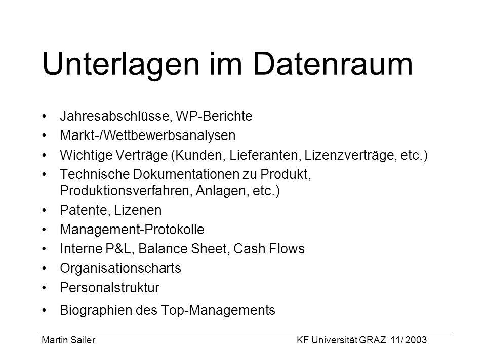 Martin SailerKF Universität GRAZ 11/ 2003 Unterlagen im Datenraum Jahresabschlüsse, WP-Berichte Markt-/Wettbewerbsanalysen Wichtige Verträge (Kunden,