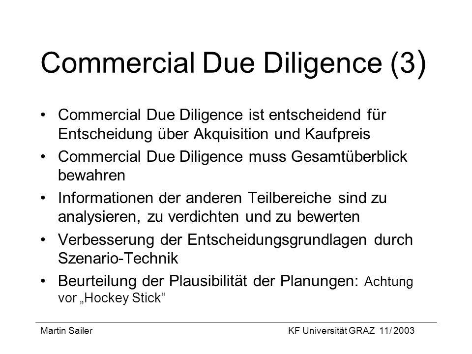 Martin SailerKF Universität GRAZ 11/ 2003 Commercial Due Diligence (3 ) Commercial Due Diligence ist entscheidend für Entscheidung über Akquisition un