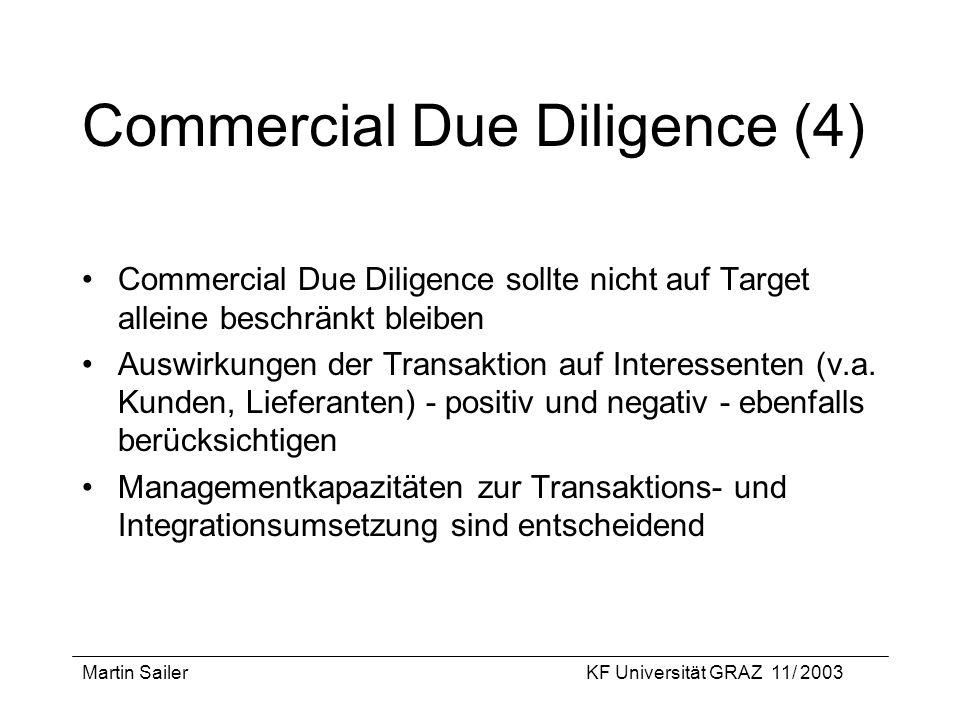 Martin SailerKF Universität GRAZ 11/ 2003 Commercial Due Diligence (4) Commercial Due Diligence sollte nicht auf Target alleine beschränkt bleiben Aus