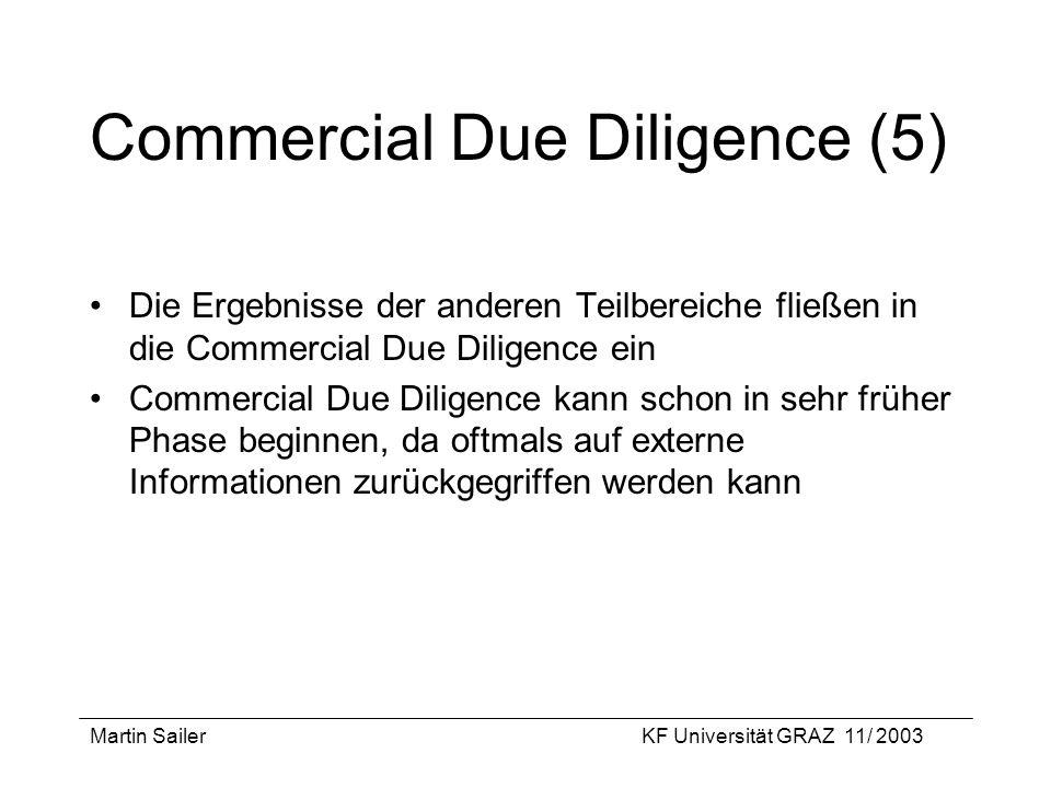 Martin SailerKF Universität GRAZ 11/ 2003 Commercial Due Diligence (5) Die Ergebnisse der anderen Teilbereiche fließen in die Commercial Due Diligence