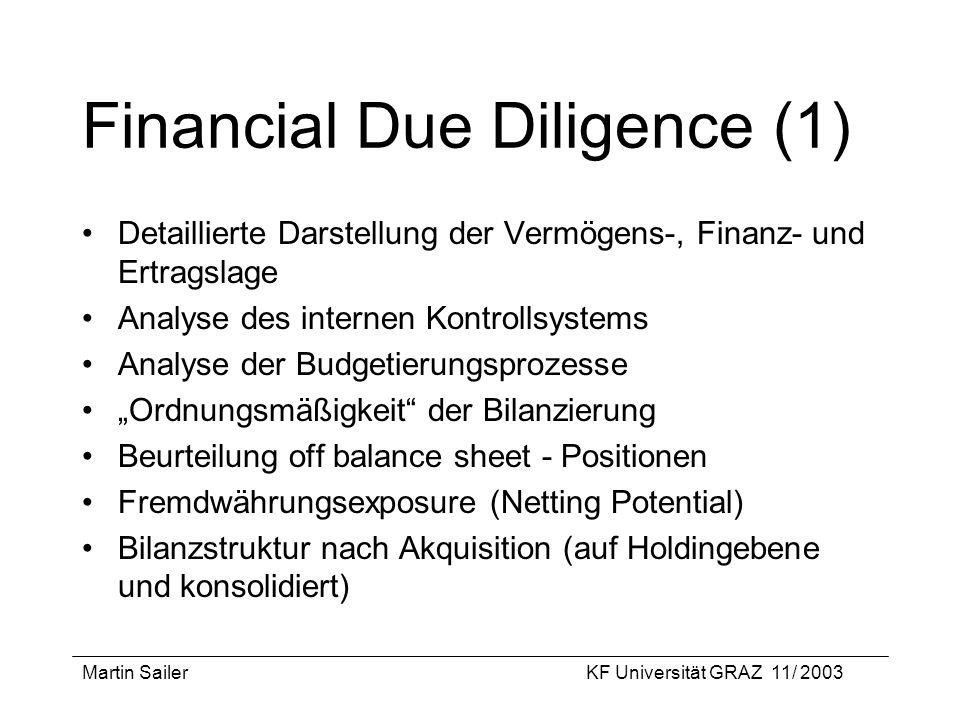 Martin SailerKF Universität GRAZ 11/ 2003 Financial Due Diligence (1) Detaillierte Darstellung der Vermögens-, Finanz- und Ertragslage Analyse des int