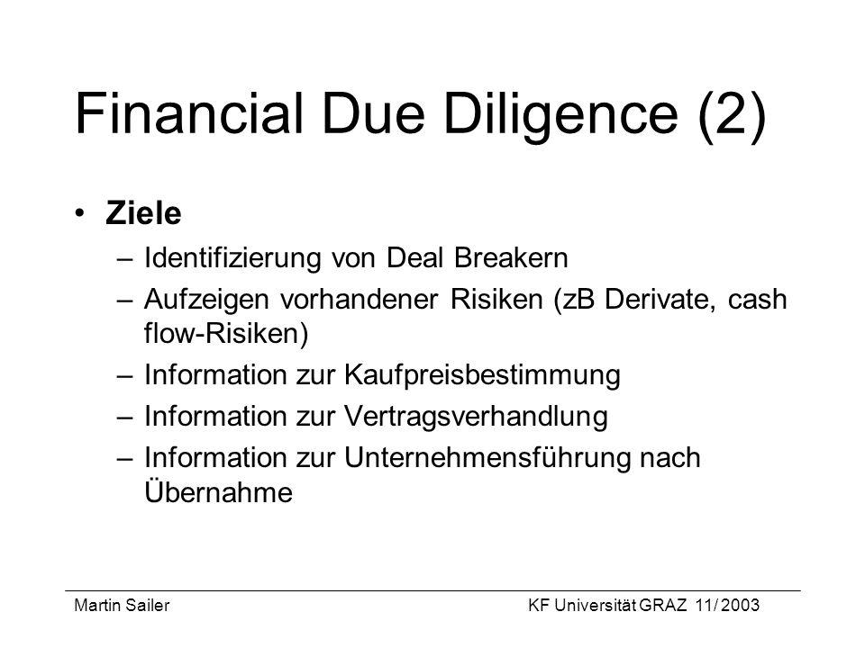 Martin SailerKF Universität GRAZ 11/ 2003 Financial Due Diligence (2) Ziele –Identifizierung von Deal Breakern –Aufzeigen vorhandener Risiken (zB Deri