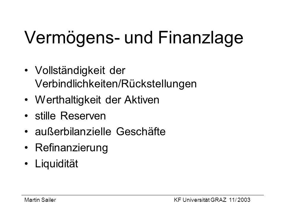 Martin SailerKF Universität GRAZ 11/ 2003 Vermögens- und Finanzlage Vollständigkeit der Verbindlichkeiten/Rückstellungen Werthaltigkeit der Aktiven st