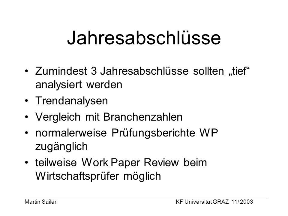 Martin SailerKF Universität GRAZ 11/ 2003 Jahresabschlüsse Zumindest 3 Jahresabschlüsse sollten tief analysiert werden Trendanalysen Vergleich mit Bra