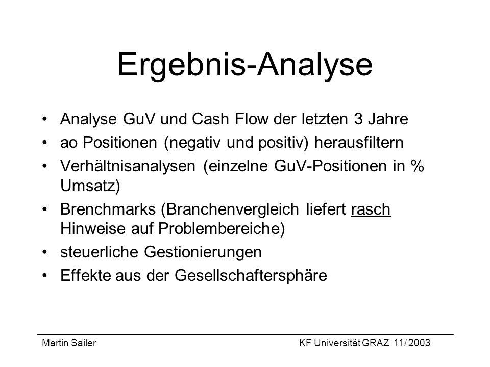 Martin SailerKF Universität GRAZ 11/ 2003 Ergebnis-Analyse Analyse GuV und Cash Flow der letzten 3 Jahre ao Positionen (negativ und positiv) herausfil