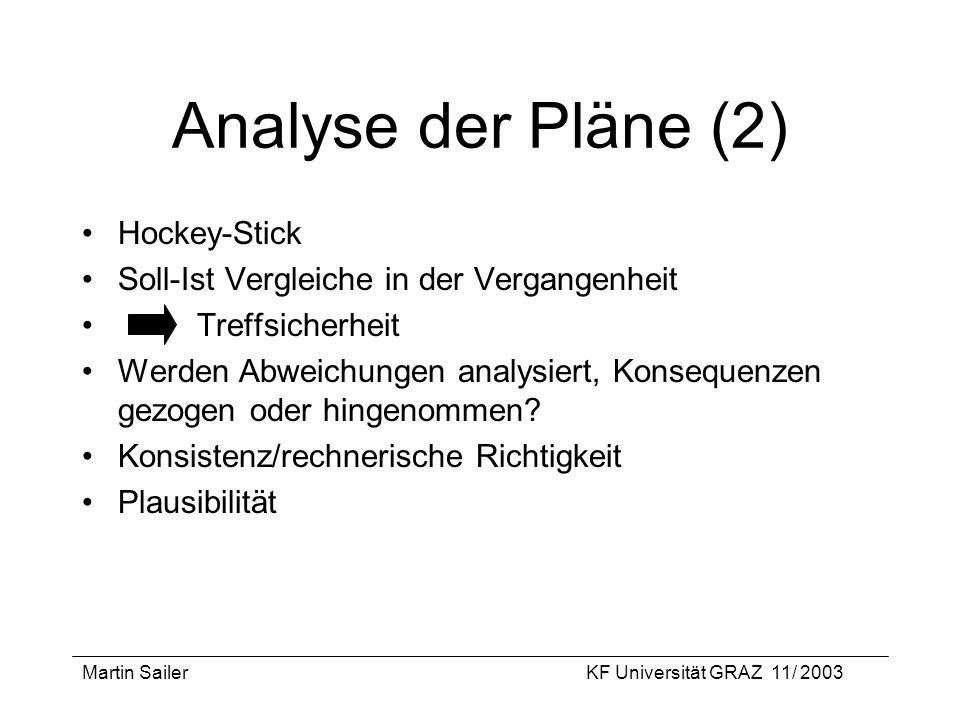 Martin SailerKF Universität GRAZ 11/ 2003 Analyse der Pläne (2) Hockey-Stick Soll-Ist Vergleiche in der Vergangenheit Treffsicherheit Werden Abweichun