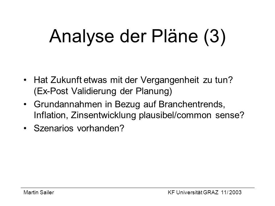 Martin SailerKF Universität GRAZ 11/ 2003 Analyse der Pläne (3) Hat Zukunft etwas mit der Vergangenheit zu tun? (Ex-Post Validierung der Planung) Grun