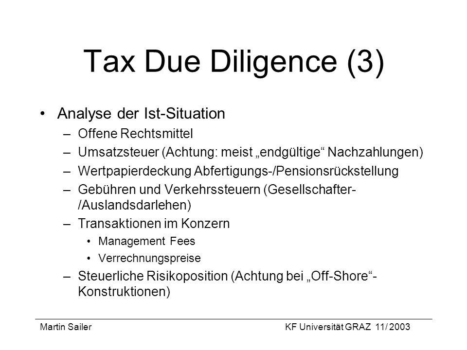 Martin SailerKF Universität GRAZ 11/ 2003 Tax Due Diligence (3) Analyse der Ist-Situation –Offene Rechtsmittel –Umsatzsteuer (Achtung: meist endgültig