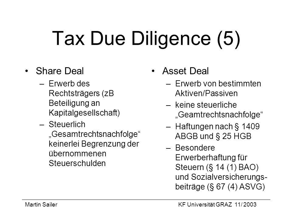 Martin SailerKF Universität GRAZ 11/ 2003 Tax Due Diligence (5) Share Deal –Erwerb des Rechtsträgers (zB Beteiligung an Kapitalgesellschaft) –Steuerli