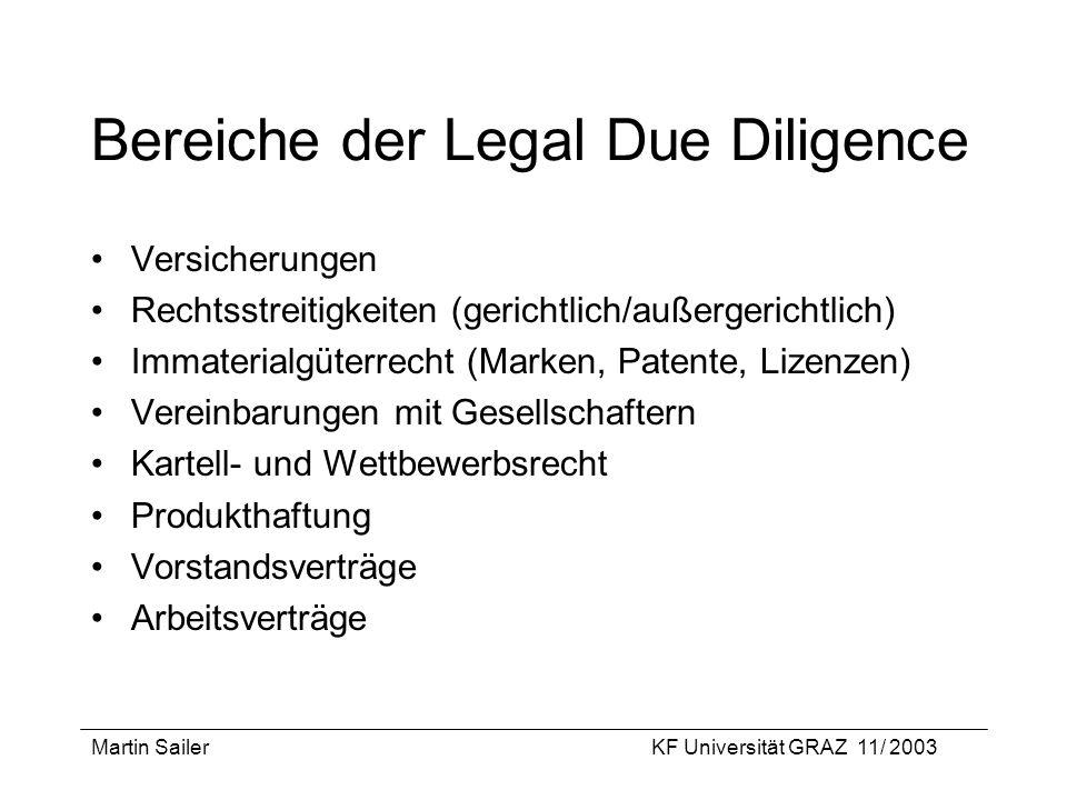 Martin SailerKF Universität GRAZ 11/ 2003 Bereiche der Legal Due Diligence Versicherungen Rechtsstreitigkeiten (gerichtlich/außergerichtlich) Immateri