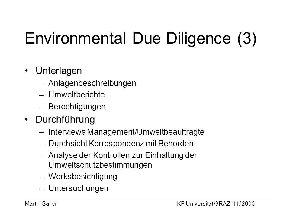 Martin SailerKF Universität GRAZ 11/ 2003 Environmental Due Diligence (3) Unterlagen –Anlagenbeschreibungen –Umweltberichte –Berechtigungen Durchführu