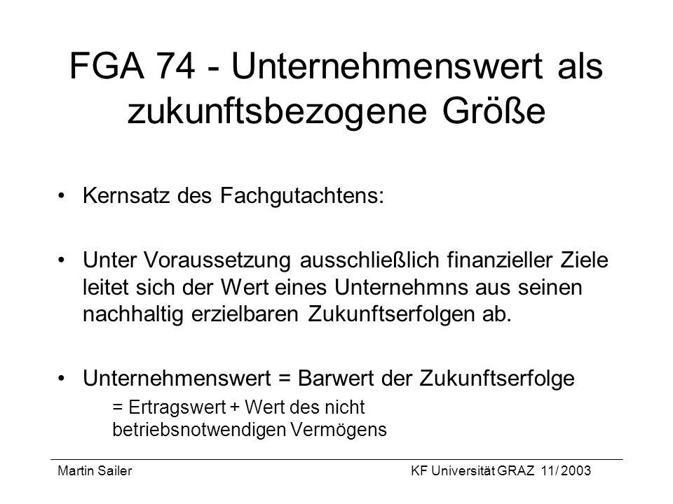 Martin SailerKF Universität GRAZ 11/ 2003 FGA 74 - Unternehmenswert als zukunftsbezogene Größe Kernsatz des Fachgutachtens: Unter Voraussetzung aussch