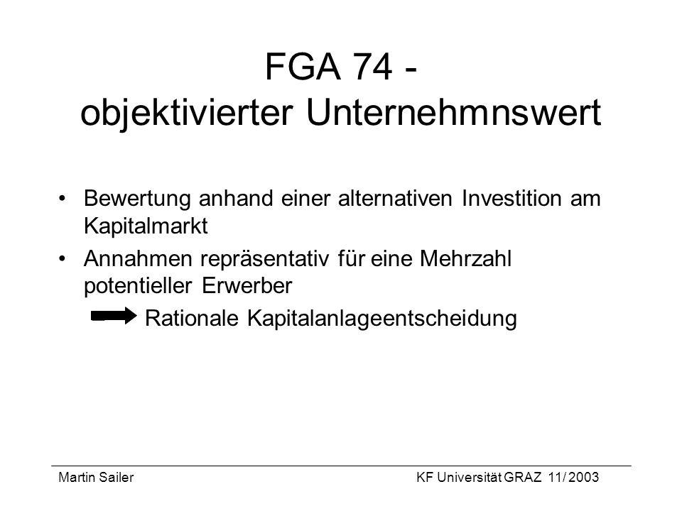 Martin SailerKF Universität GRAZ 11/ 2003 FGA 74 - objektivierter Unternehmnswert Bewertung anhand einer alternativen Investition am Kapitalmarkt Anna