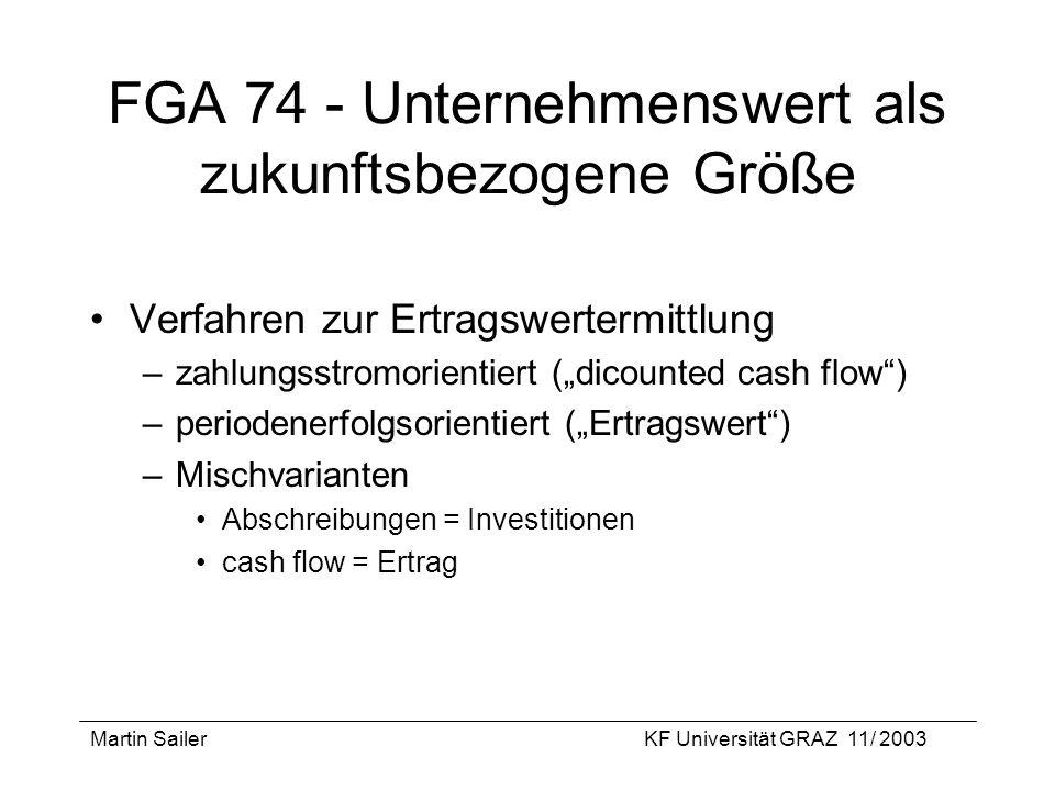 Martin SailerKF Universität GRAZ 11/ 2003 FGA 74 - Unternehmenswert als zukunftsbezogene Größe Verfahren zur Ertragswertermittlung –zahlungsstromorien