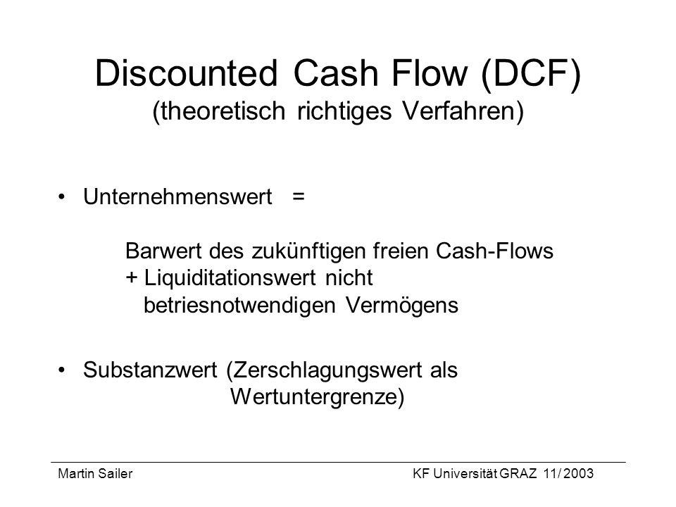 Martin SailerKF Universität GRAZ 11/ 2003 Discounted Cash Flow (DCF) (theoretisch richtiges Verfahren) Unternehmenswert = Barwert des zukünftigen frei