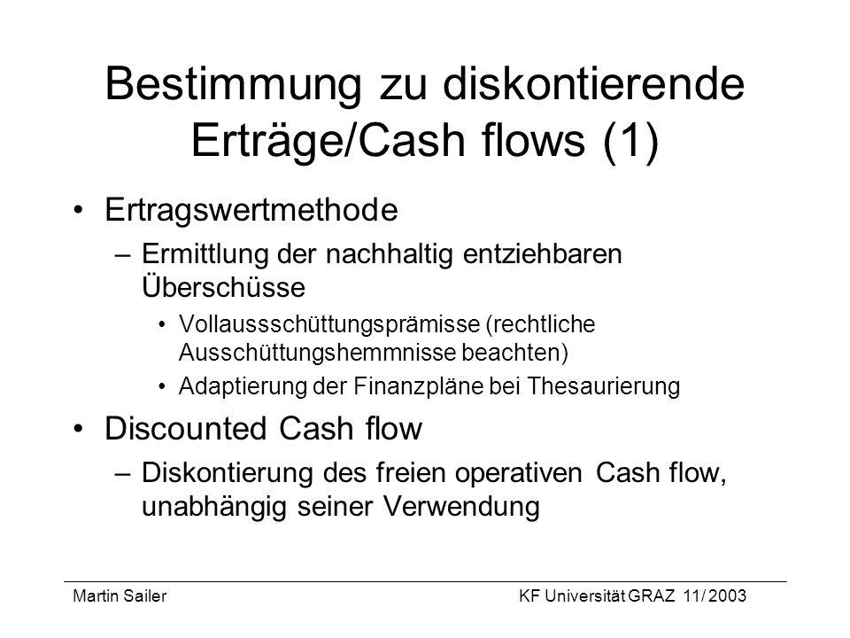 Martin SailerKF Universität GRAZ 11/ 2003 Bestimmung zu diskontierende Erträge/Cash flows (1) Ertragswertmethode –Ermittlung der nachhaltig entziehbar