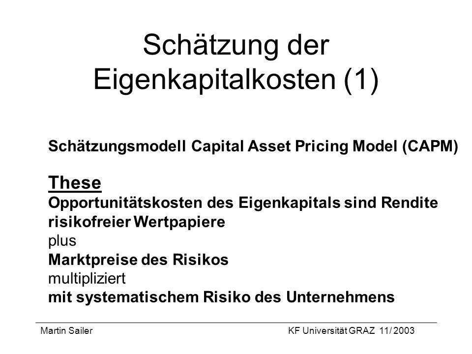 Martin SailerKF Universität GRAZ 11/ 2003 Schätzung der Eigenkapitalkosten (1) Schätzungsmodell Capital Asset Pricing Model (CAPM) These Opportunitäts