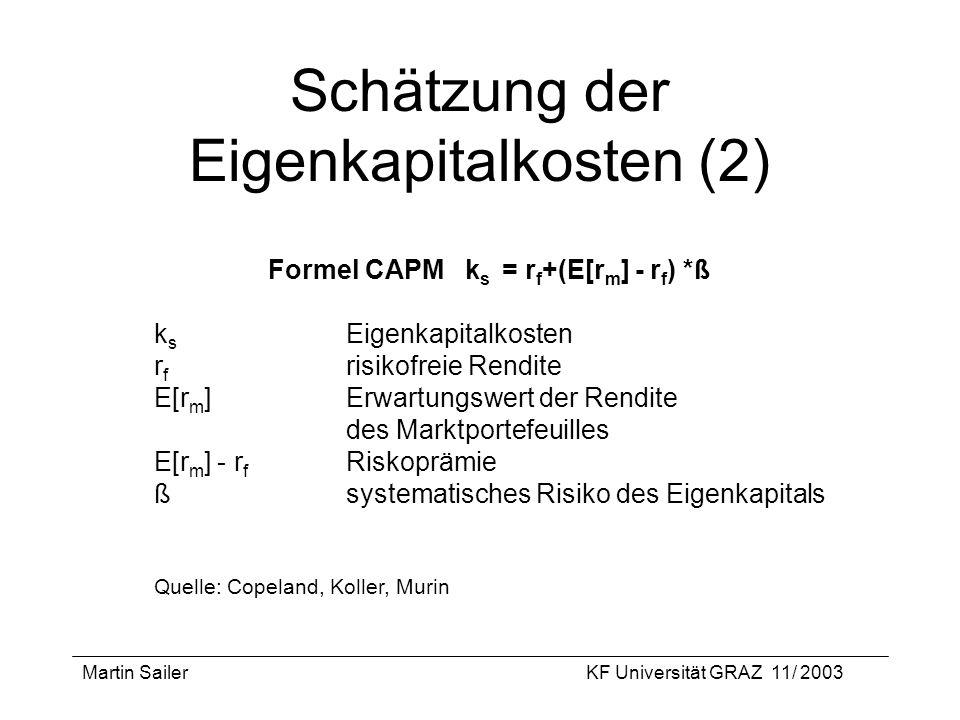 Martin SailerKF Universität GRAZ 11/ 2003 Schätzung der Eigenkapitalkosten (2) Formel CAPM k s = r f +(E[r m ] - r f ) *ß k s Eigenkapitalkosten r f r