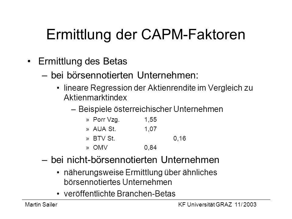Martin SailerKF Universität GRAZ 11/ 2003 Ermittlung der CAPM-Faktoren Ermittlung des Betas –bei börsennotierten Unternehmen: lineare Regression der A