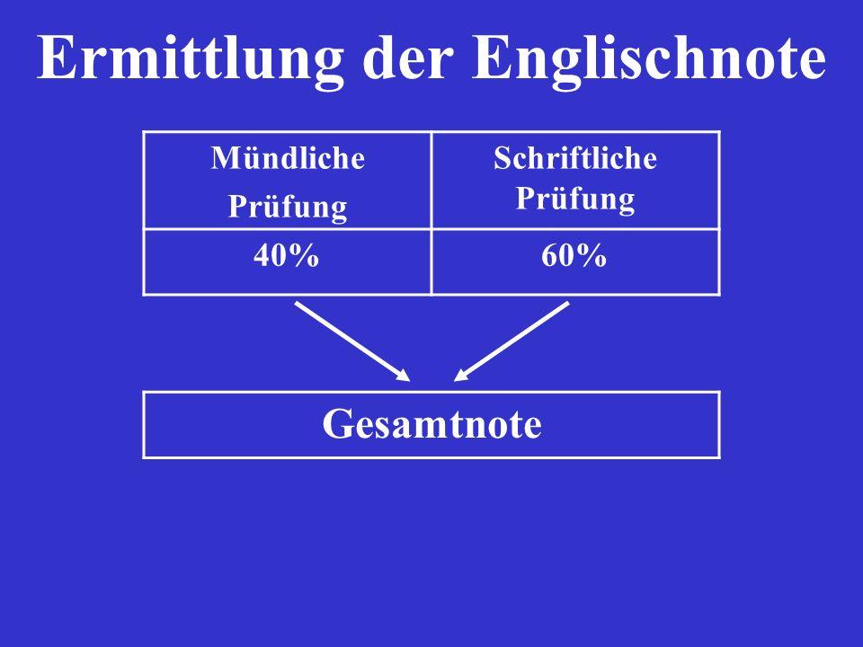 Ermittlung der Englischnote Mündliche Prüfung Schriftliche Prüfung 40%60% Gesamtnote