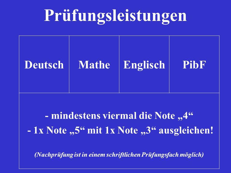 Prüfungsleistungen DeutschMatheEnglischPibF - mindestens viermal die Note 4 - 1x Note 5 mit 1x Note 3 ausgleichen! (Nachprüfung ist in einem schriftli