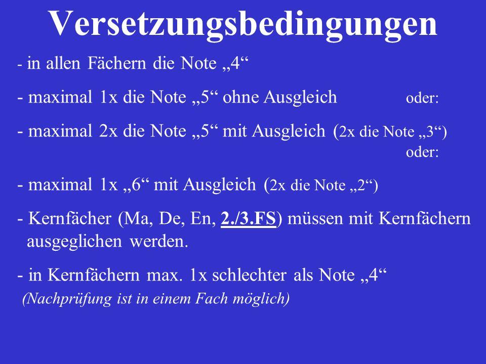 Versetzungsbedingungen - in allen Fächern die Note 4 - maximal 1x die Note 5 ohne Ausgleich oder: - maximal 2x die Note 5 mit Ausgleich ( 2x die Note