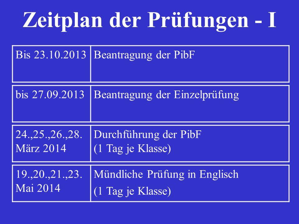 Zeitplan der Prüfungen - I Bis 23.10.2013Beantragung der PibF bis 27.09.2013Beantragung der Einzelprüfung 24.,25.,26.,28. März 2014 Durchführung der P