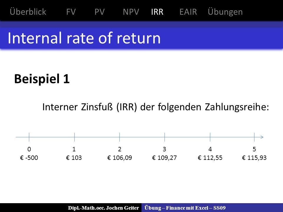 Übung – Finance mit Excel – SS09Dipl.-Math.oec. Jochen Geiter Internal rate of return Beispiel 1 Interner Zinsfuß (IRR) der folgenden Zahlungsreihe: Ü