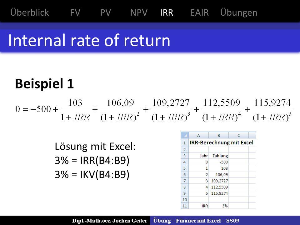 Übung – Finance mit Excel – SS09Dipl.-Math.oec. Jochen Geiter Internal rate of return Beispiel 1 ÜberblickFVPVNPVIRREAIRÜbungen Lösung mit Excel: 3% =