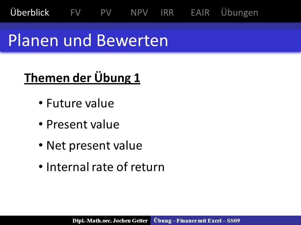 Übung – Finance mit Excel – SS09Dipl.-Math.oec. Jochen Geiter Planen und Bewerten Themen der Übung 1 Future value Present value Net present value Inte