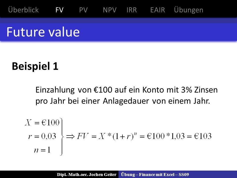 Übung – Finance mit Excel – SS09Dipl.-Math.oec. Jochen Geiter Future value Beispiel 1 Einzahlung von 100 auf ein Konto mit 3% Zinsen pro Jahr bei eine