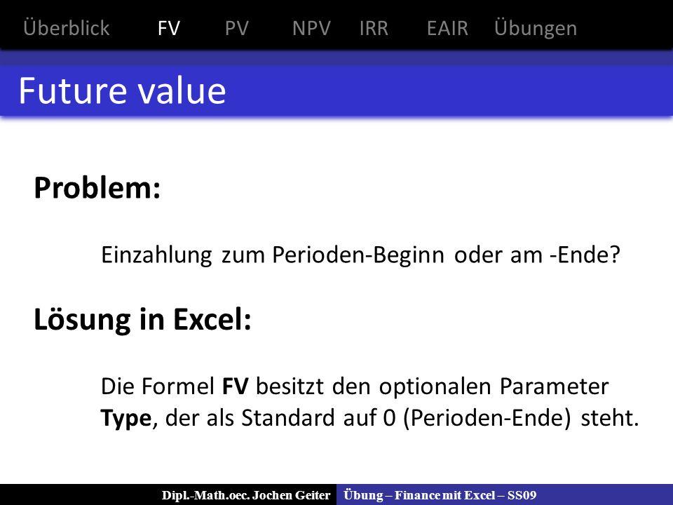 Übung – Finance mit Excel – SS09Dipl.-Math.oec. Jochen Geiter Future value Problem: Einzahlung zum Perioden-Beginn oder am -Ende? Lösung in Excel: Die