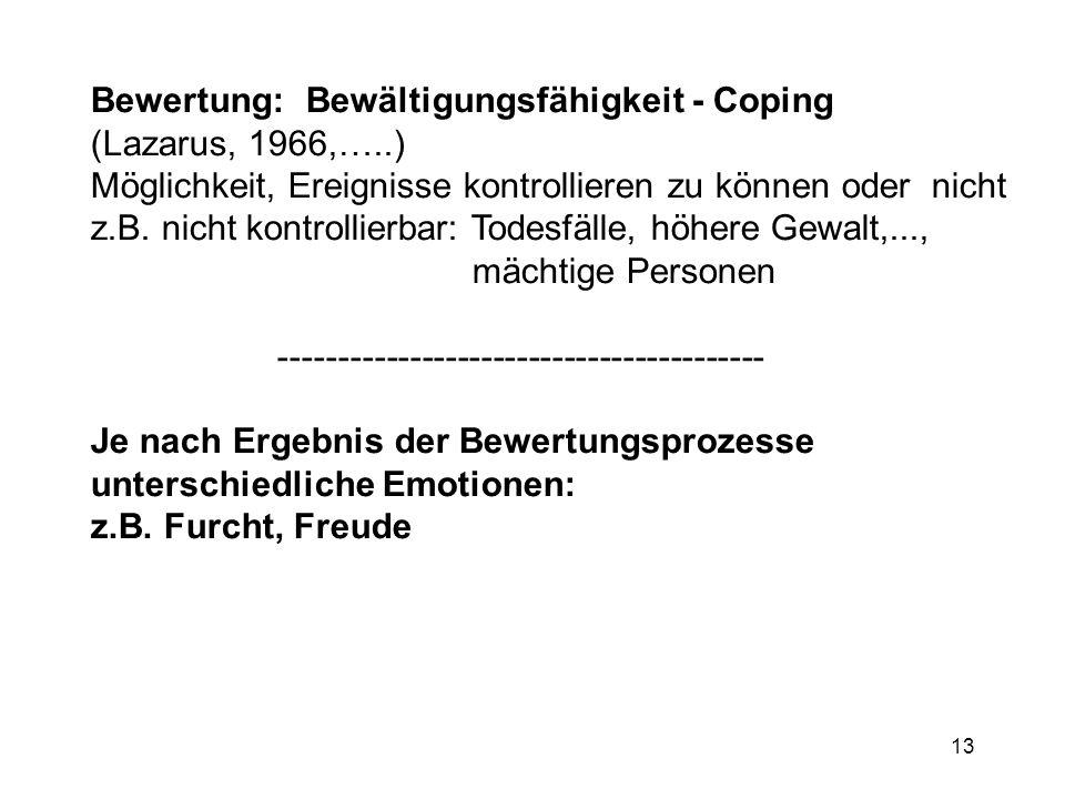 13 Bewertung: Bewältigungsfähigkeit - Coping (Lazarus, 1966,…..) Möglichkeit, Ereignisse kontrollieren zu können oder nicht z.B. nicht kontrollierbar: