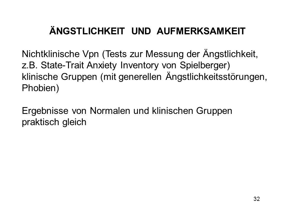 32 ÄNGSTLICHKEIT UND AUFMERKSAMKEIT Nichtklinische Vpn (Tests zur Messung der Ängstlichkeit, z.B. State-Trait Anxiety Inventory von Spielberger) klini