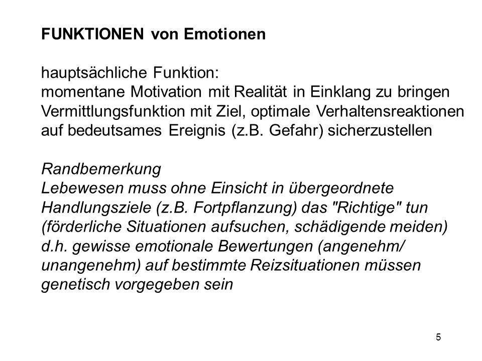 5 FUNKTIONEN von Emotionen hauptsächliche Funktion: momentane Motivation mit Realität in Einklang zu bringen Vermittlungsfunktion mit Ziel, optimale V