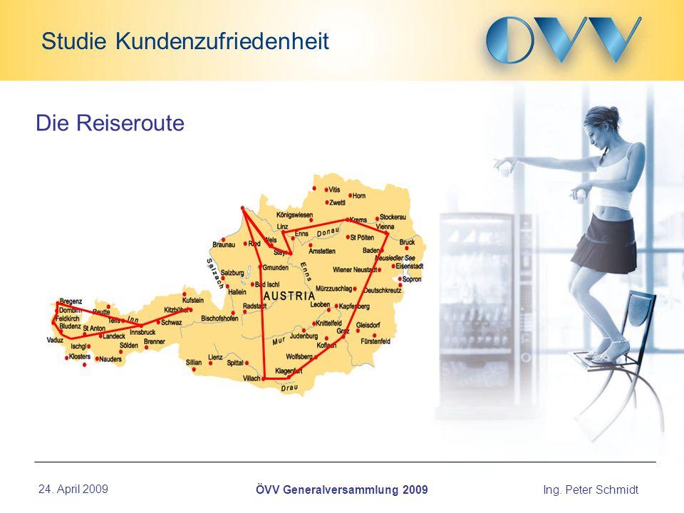 24. April 2009Ing. Peter Schmidt Studie Kundenzufriedenheit ÖVV Generalversammlung 2009 Die Reiseroute