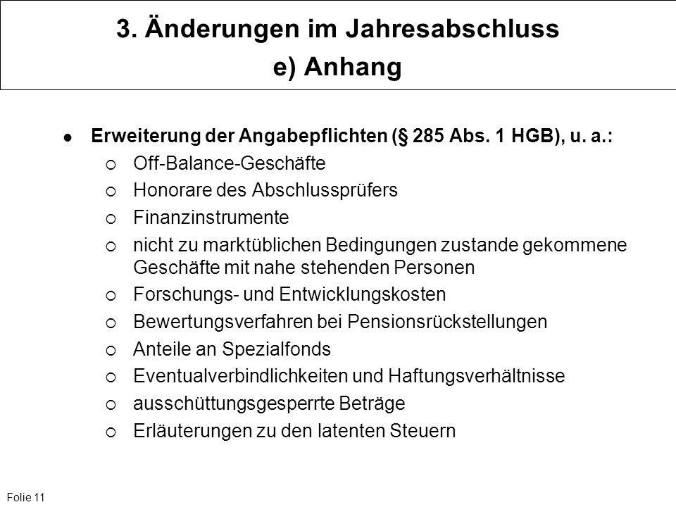 Folie 11 3. Änderungen im Jahresabschluss e) Anhang Erweiterung der Angabepflichten (§ 285 Abs. 1 HGB), u. a.: Off-Balance-Geschäfte Honorare des Absc