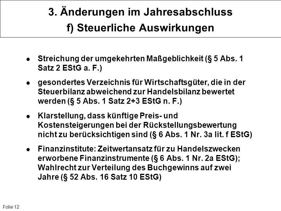 Folie 12 3. Änderungen im Jahresabschluss f) Steuerliche Auswirkungen Streichung der umgekehrten Maßgeblichkeit (§ 5 Abs. 1 Satz 2 EStG a. F.) gesonde