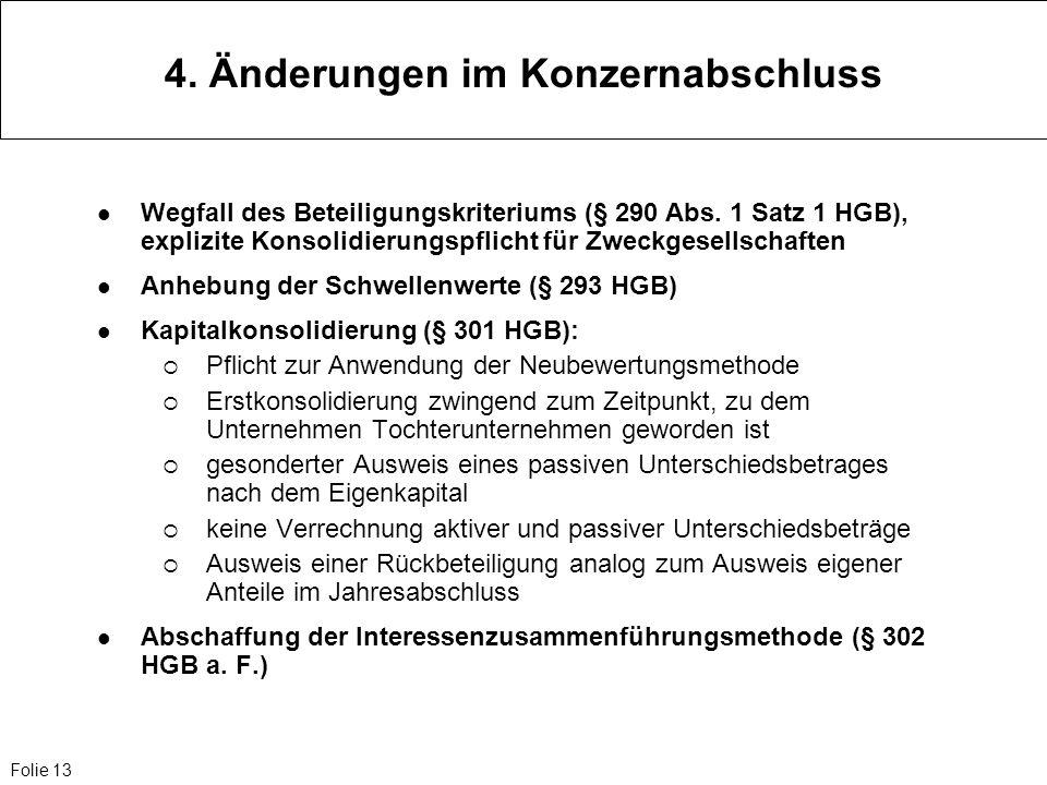 Folie 13 4. Änderungen im Konzernabschluss Wegfall des Beteiligungskriteriums (§ 290 Abs. 1 Satz 1 HGB), explizite Konsolidierungspflicht für Zweckges