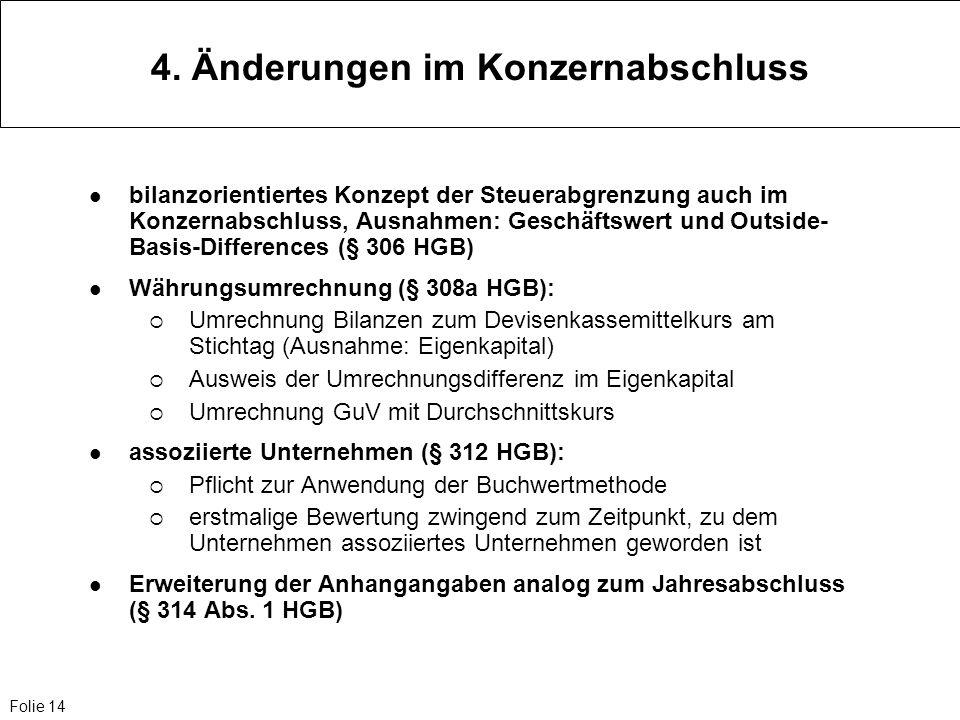 Folie 14 4. Änderungen im Konzernabschluss bilanzorientiertes Konzept der Steuerabgrenzung auch im Konzernabschluss, Ausnahmen: Geschäftswert und Outs