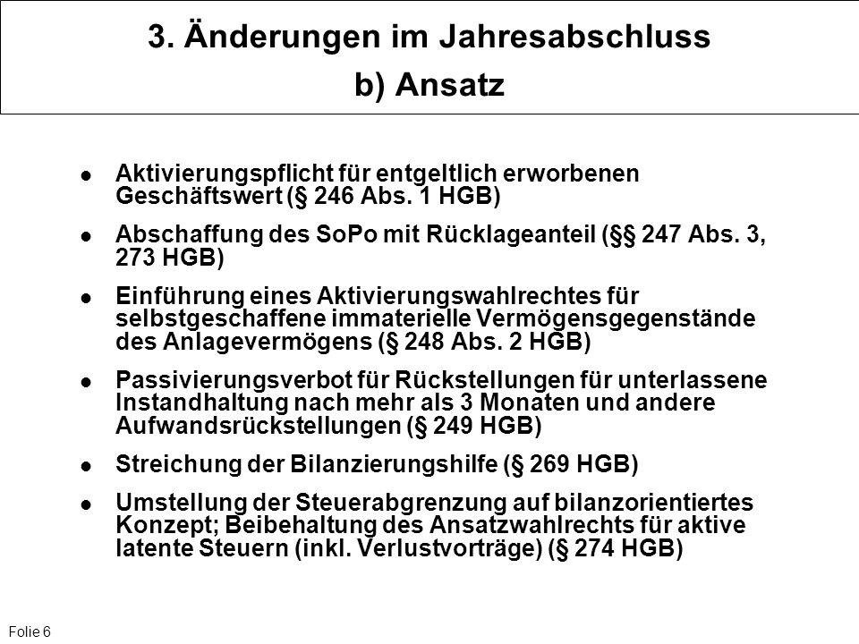 Folie 6 3. Änderungen im Jahresabschluss b) Ansatz Aktivierungspflicht für entgeltlich erworbenen Geschäftswert (§ 246 Abs. 1 HGB) Abschaffung des SoP