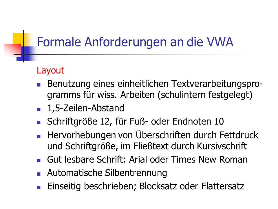 Layout Benutzung eines einheitlichen Textverarbeitungspro- gramms für wiss.