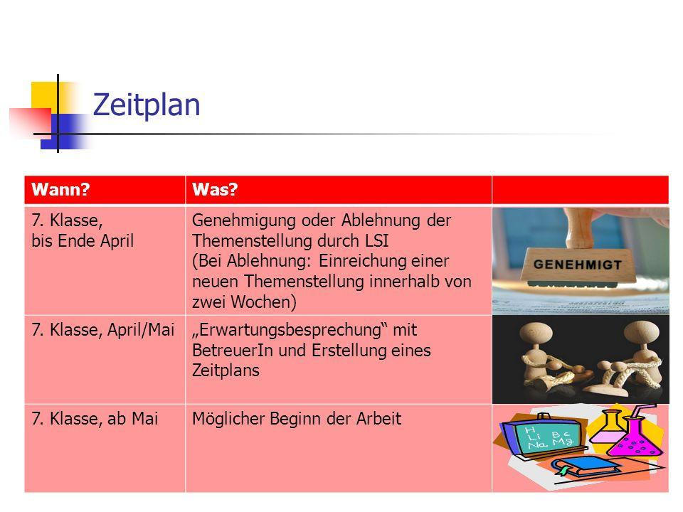 Zeitplan Wann Was. 7.
