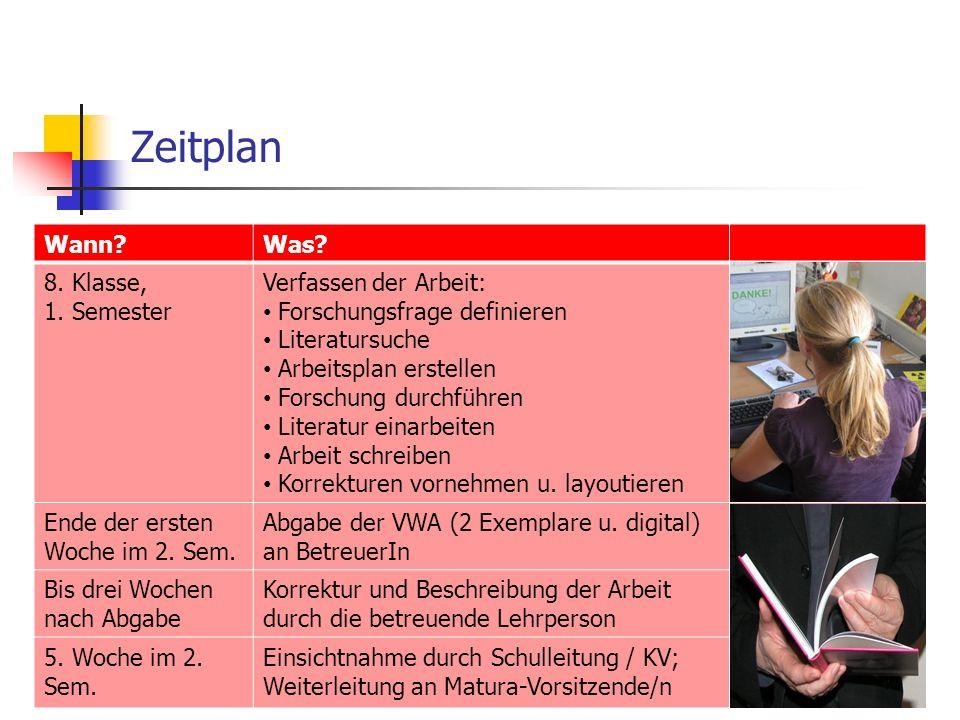 Zeitplan Wann Was. 8. Klasse, 1.