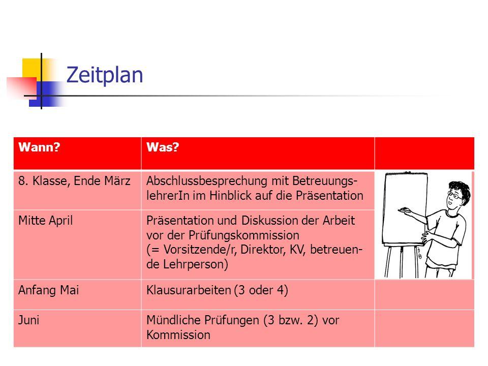 Zeitplan Wann Was. 8.