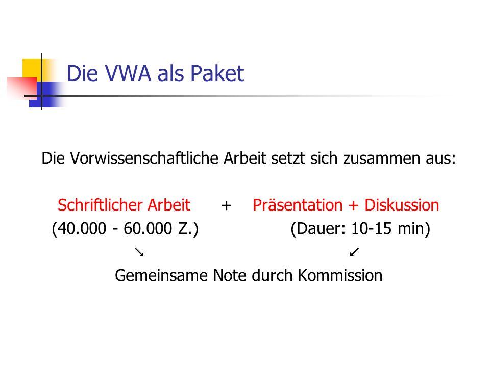 Die VWA als Paket Die Vorwissenschaftliche Arbeit setzt sich zusammen aus: Schriftlicher Arbeit + Präsentation + Diskussion (40.000 - 60.000 Z.) (Dauer: 10-15 min) Gemeinsame Note durch Kommission