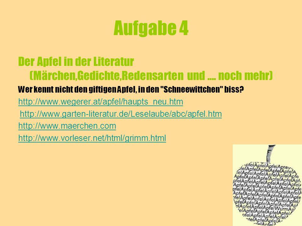 Aufgabe 5 Der Apfel in Deutschland und in Italien ( es geht nicht nur um Unterschiede!!!) Der Apfel....