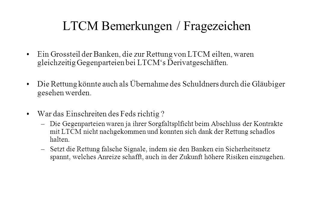 LTCM Bemerkungen / Fragezeichen Ein Grossteil der Banken, die zur Rettung von LTCM eilten, waren gleichzeitig Gegenparteien bei LTCMs Derivatgeschäften.