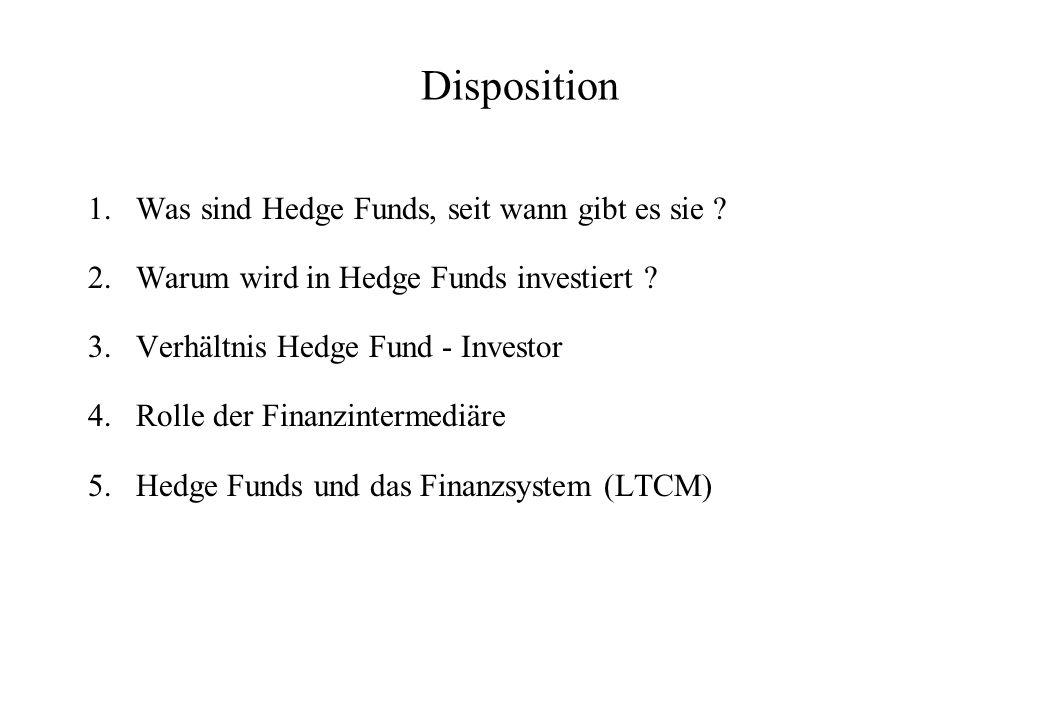 Geschichtlicher Überblick Alfred Jones (1949) –Wollte markt- und firmenspezifisches Risiko voneinander trennen –Wenn das Marktrisiko ausgeschaltet ist, wird Leverage auch weniger riskant Erster Boom in den 60-er Jahren –Jones fand viele Nachahmer Die meisten dieser Hedge funds verschwanden in den 70-er Jahren wieder Comeback in den 80-er Jahren im Zusammenhang mit dem Technologie Boom Sehr starkes Wachstum in den 90-er Jahren, das bis heute anhält