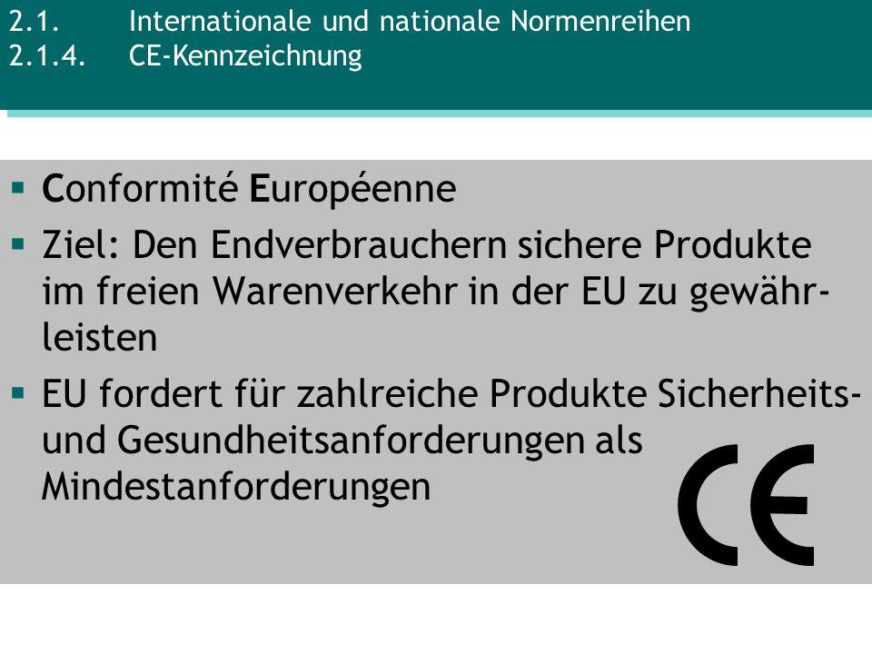 Conformité Européenne Ziel: Den Endverbrauchern sichere Produkte im freien Warenverkehr in der EU zu gewähr- leisten EU fordert für zahlreiche Produkt